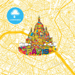 Paris Travel Art Map