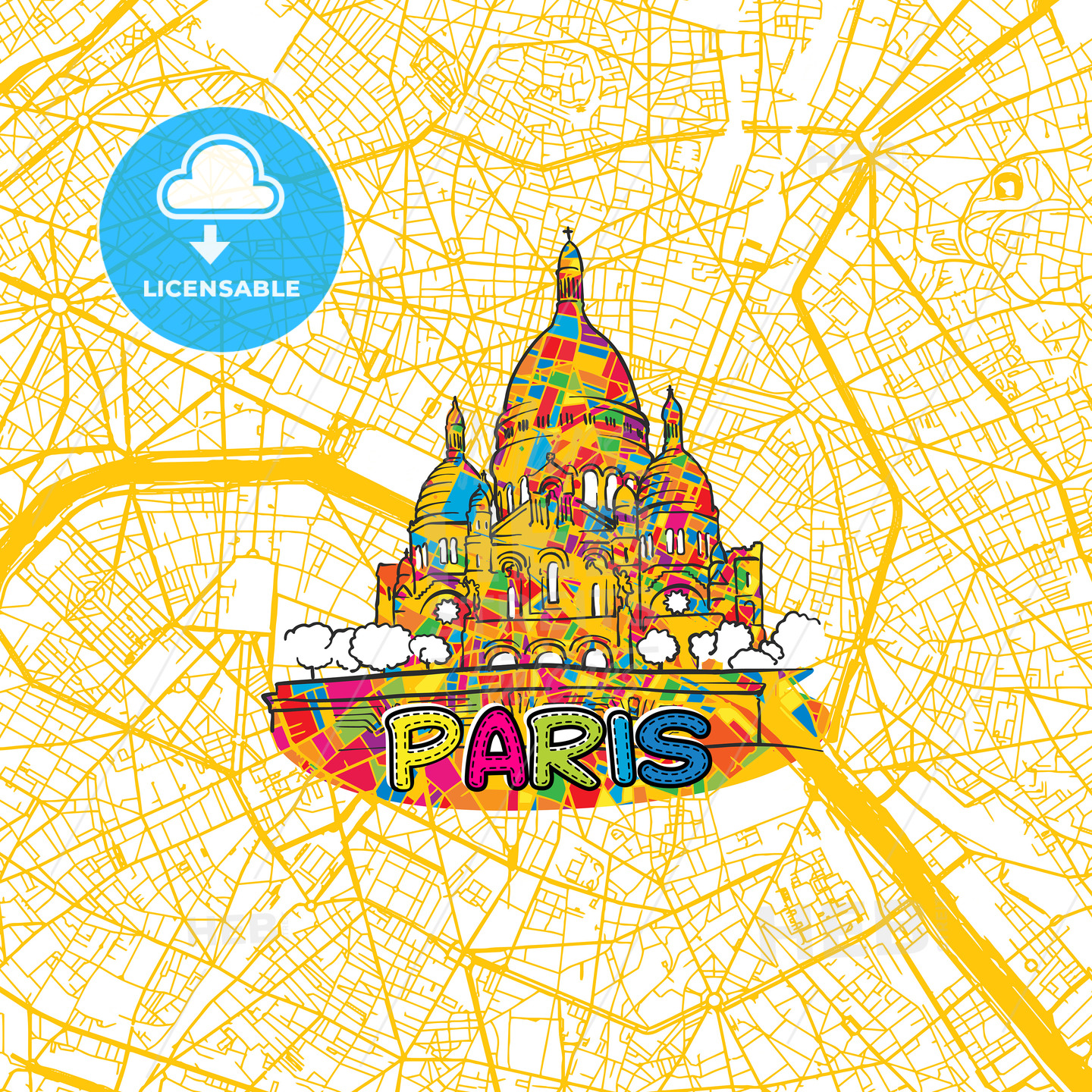 Paris Travel Art Map - HEBSTREITS