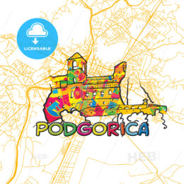 Podgorica Travel Art Map
