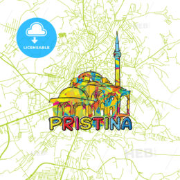 Pristina Travel Art Map