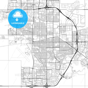 Regina, Saskatchewan, Downtown City Map, Light - HEBSTREITS