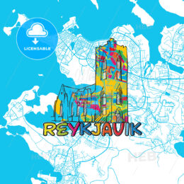 Reykjavik Travel Art Map