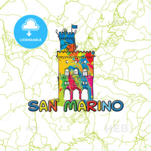 San Marino Travel Art Map - HEBSTREITS