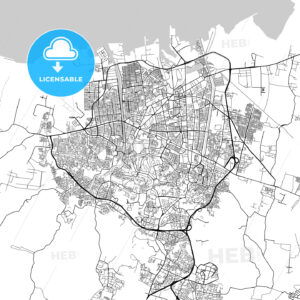 Semarang, Central Java, Downtown City Map, Light - HEBSTREITS
