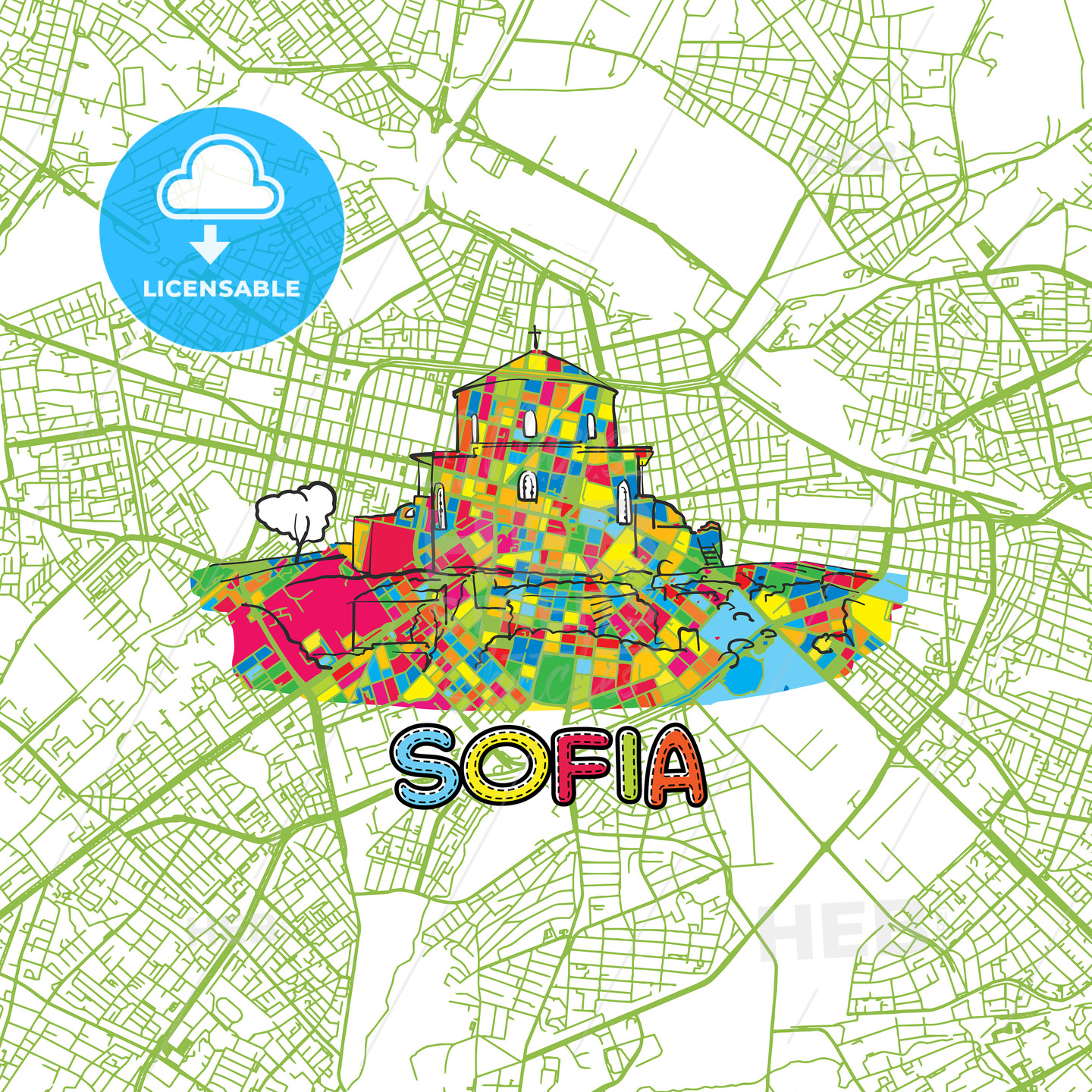 Sofia Travel Art Map - HEBSTREITS