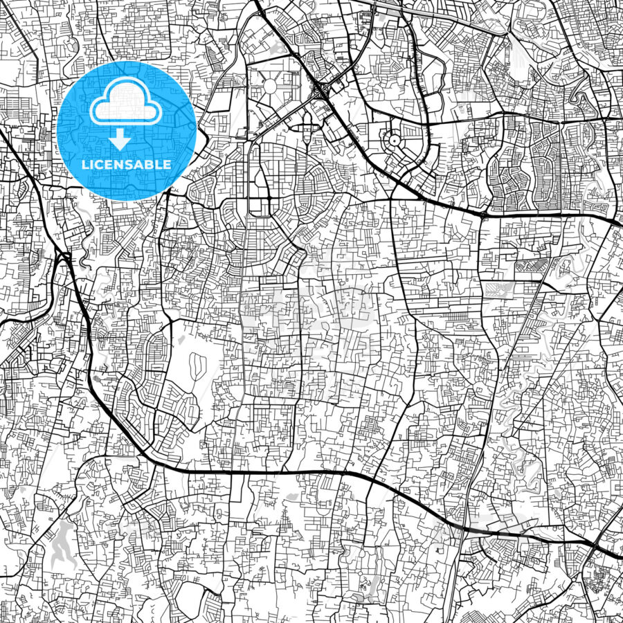 South Jakarta, Indonesia, Downtown City Map, Light - HEBSTREITS