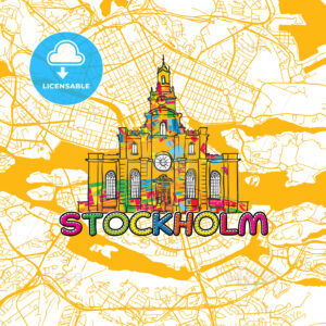 Stockholm Travel Art Map - HEBSTREITS