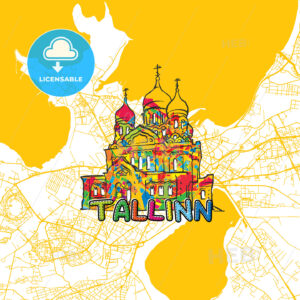 Tallinn Travel Art Map - HEBSTREITS