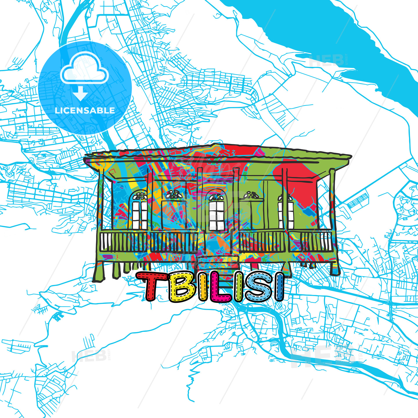 Tbilisi Travel Art Map - HEBSTREITS