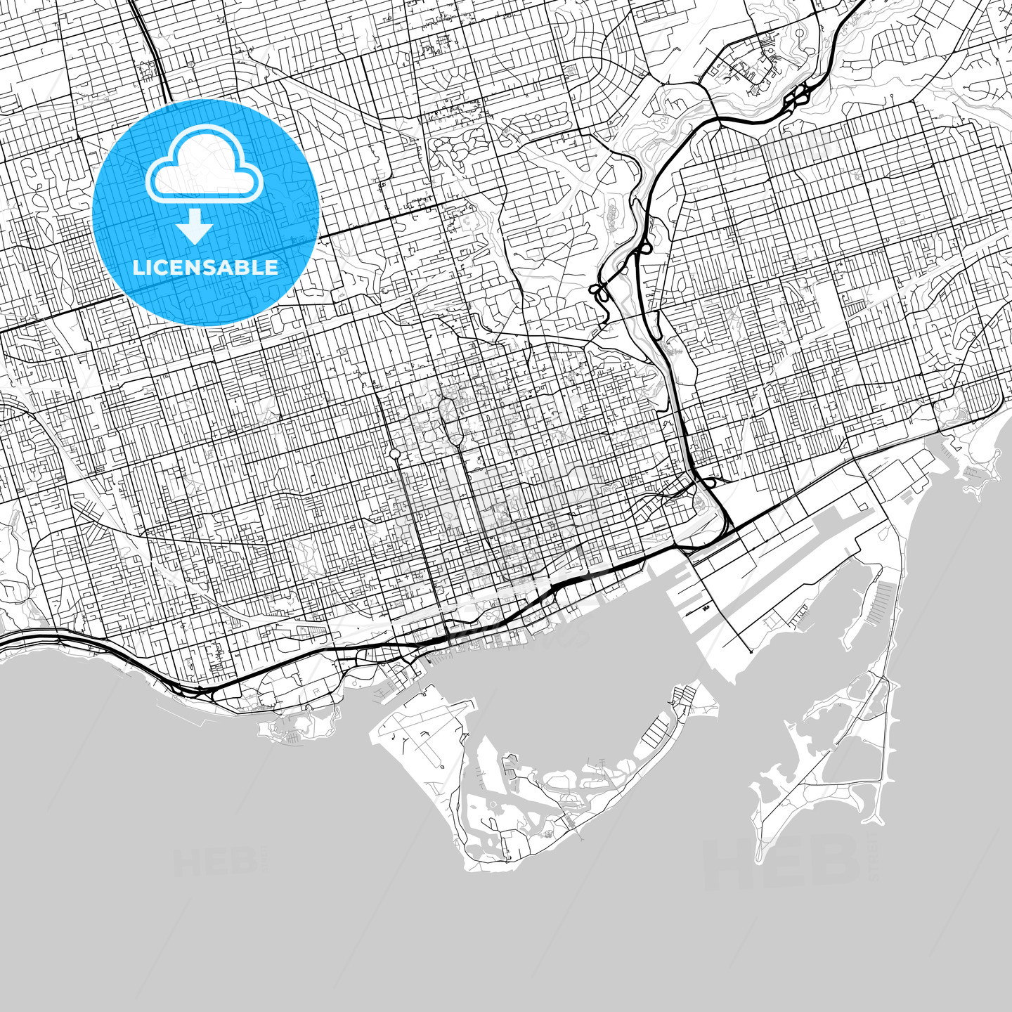 Toronto, Ontario, Downtown City Map, Light - HEBSTREITS