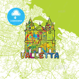 Valletta Travel Art Map