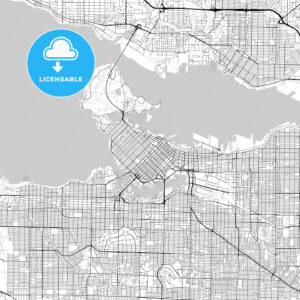Vancouver, British Columbia, Downtown City Map, Light - HEBSTREITS