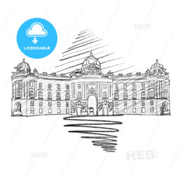 Vienna Hofburg Famous European Architecture Drawing