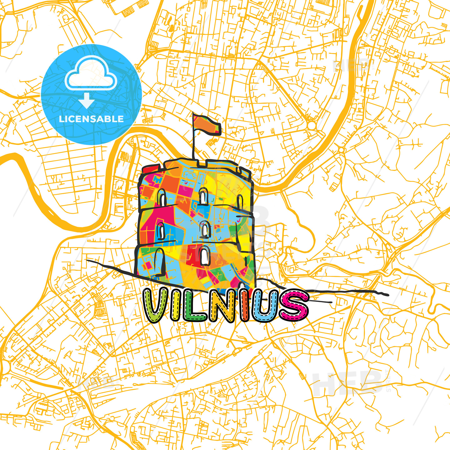 Vilnius Travel Art Map - HEBSTREITS