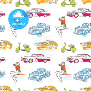 Vintage cars seamless pattern - HEBSTREITS