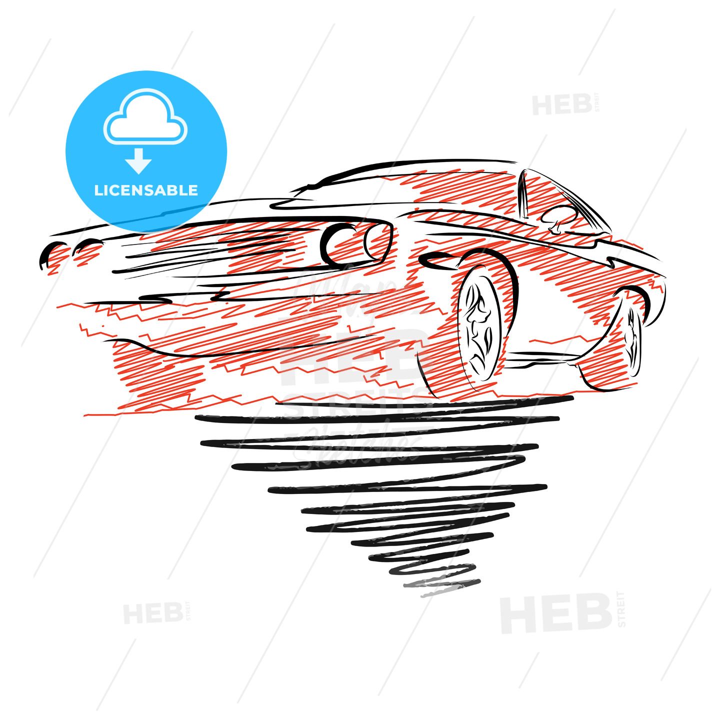 Vintage muscle car drawing - HEBSTREITS