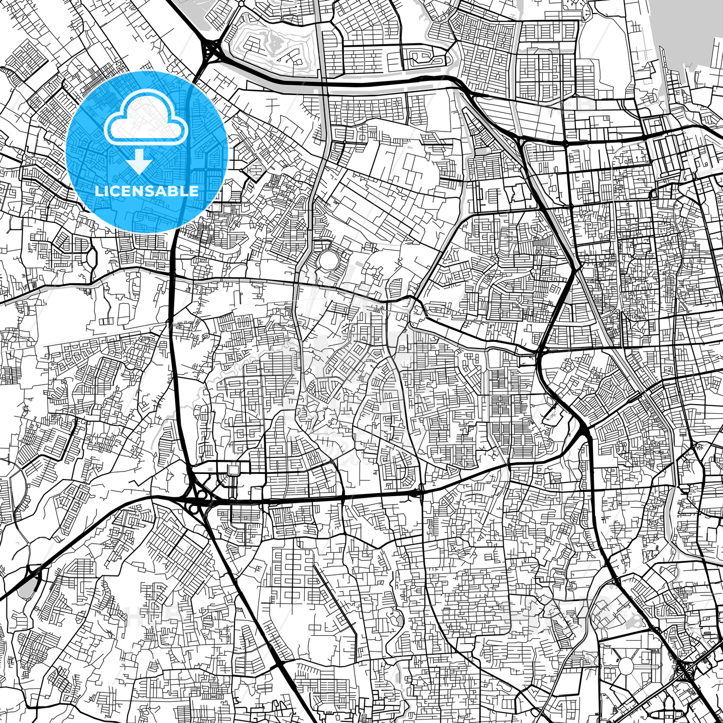 West Jakarta, Indonesia, Downtown City Map, Light - HEBSTREITS