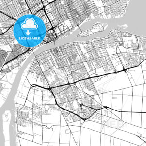 Windsor , Ontario, Downtown City Map, Light - HEBSTREITS