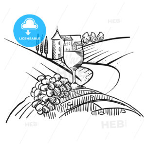 Wine and grapes in front of farmland - HEBSTREITS