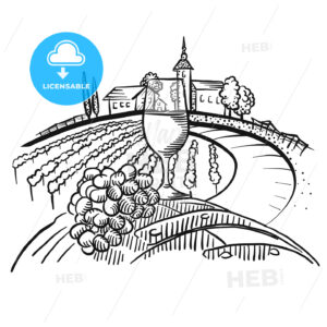 Wine on barrel and vineyard landscape - HEBSTREITS