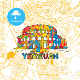 Yerevan Travel Art Map