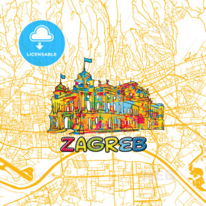 Zagreb Travel Art Map - HEBSTREITS