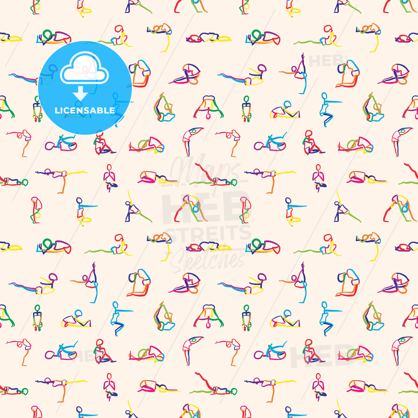 big set seamless pattern of yoga poses - HEBSTREITS