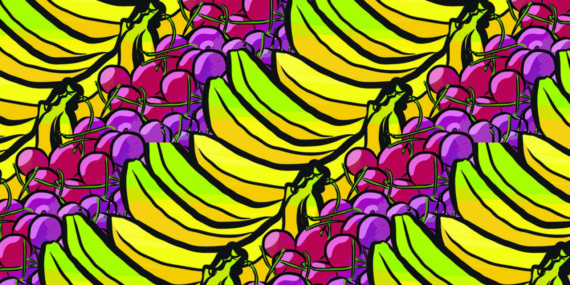Pattern of cherries and bananas
