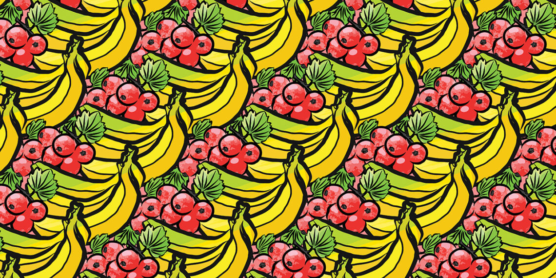 Pattern of currant and bananas