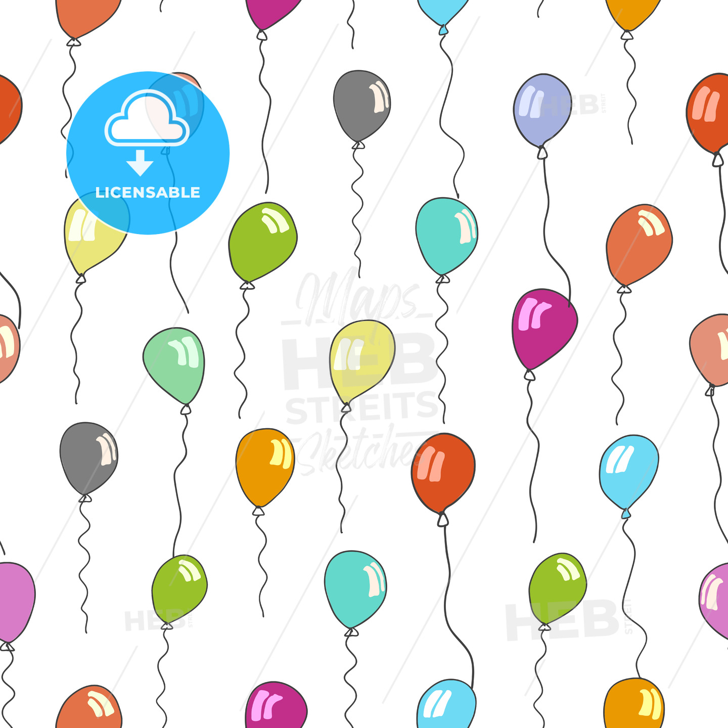 seamless pattern of balloons in various colors - HEBSTREITS