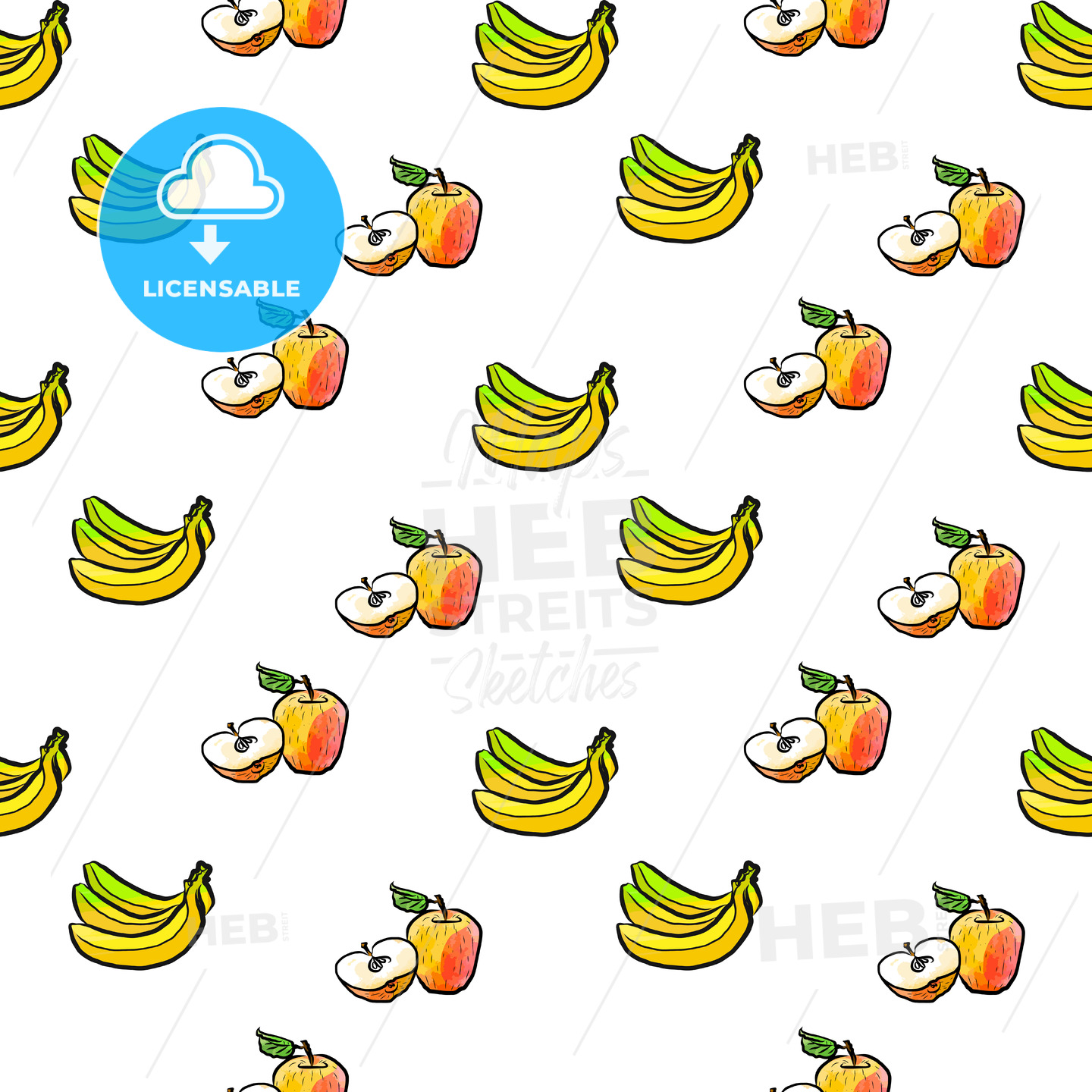 seamless pattern of bananas and apples - HEBSTREITS