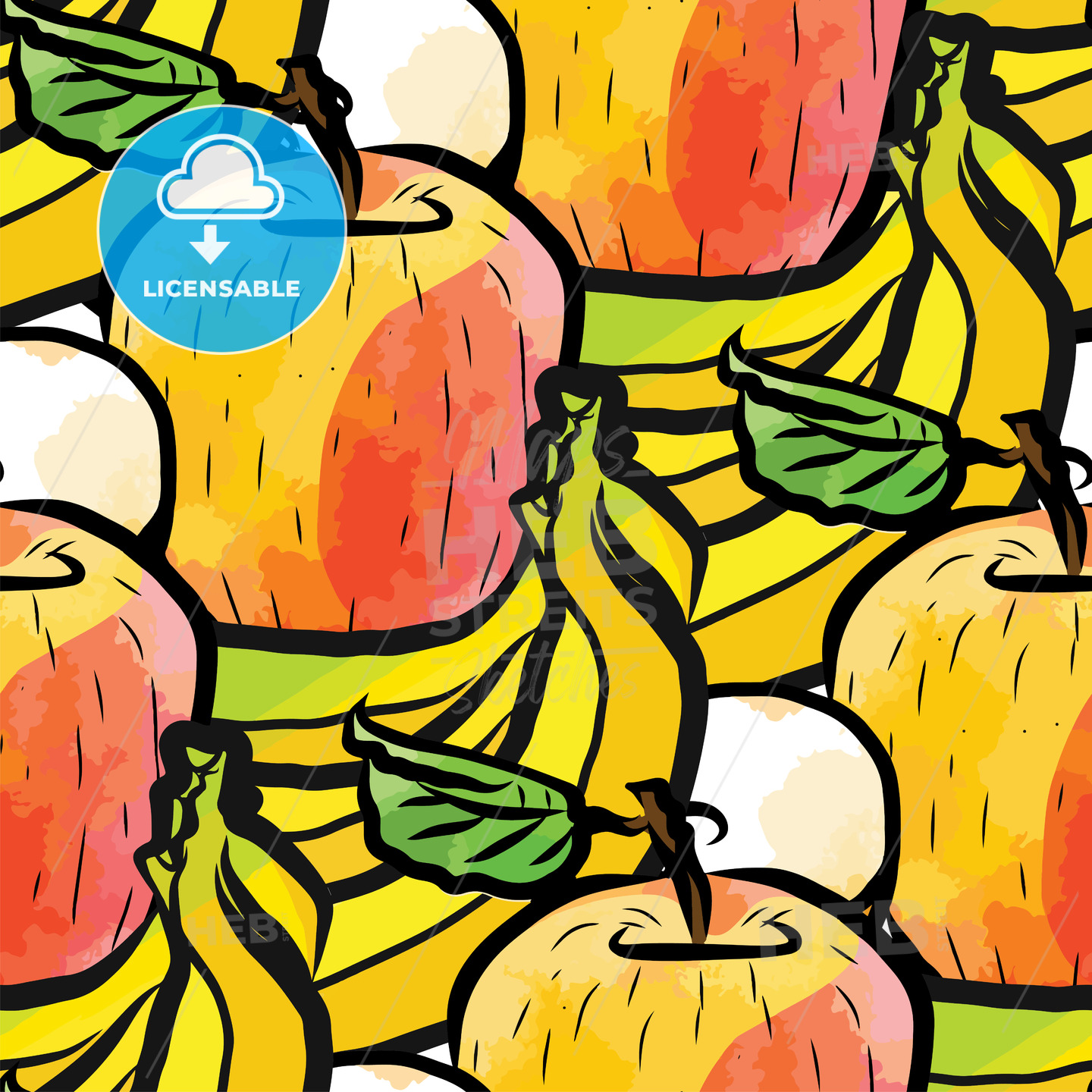 seamless pattern of bananas and apples