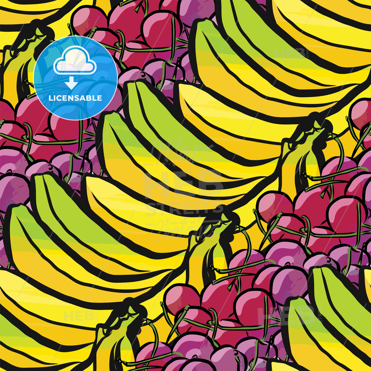 seamless pattern of bananas and cherries - HEBSTREITS