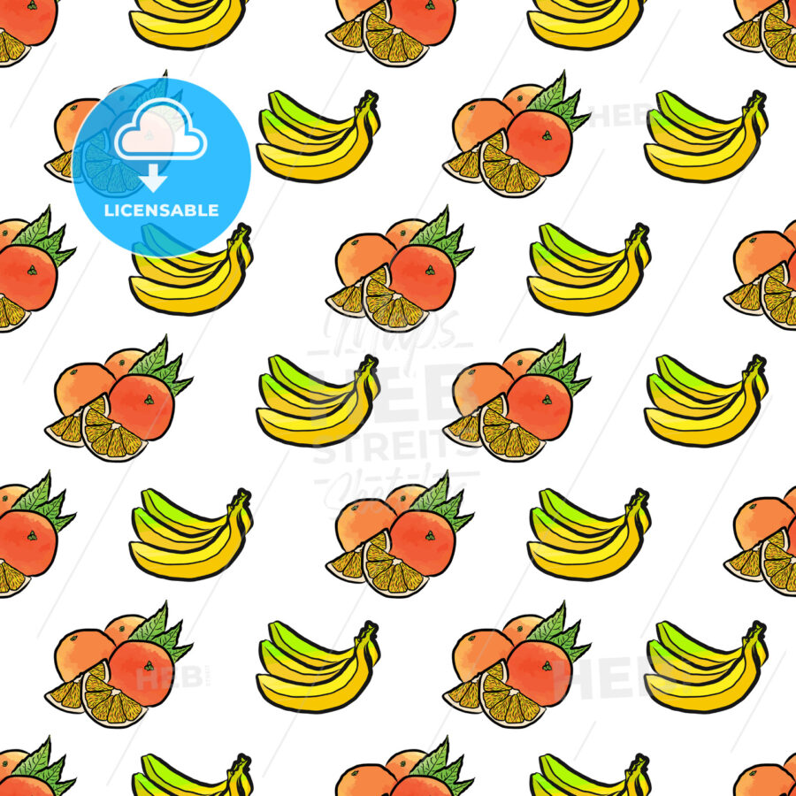 seamless pattern of bananas and oranges - HEBSTREITS