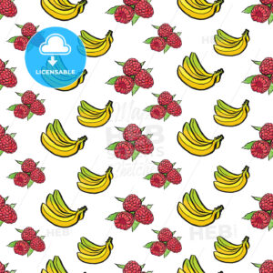 seamless pattern of bananas and raspberries - HEBSTREITS