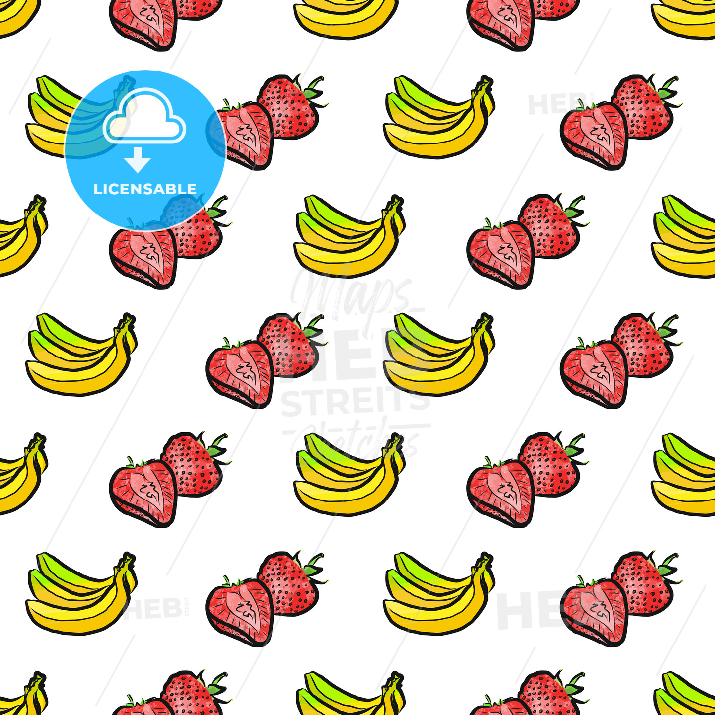 seamless pattern of bananas and strawberries - HEBSTREITS