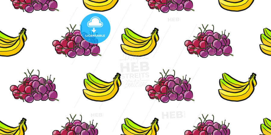 seamless pattern of cherries and bananas - HEBSTREITS