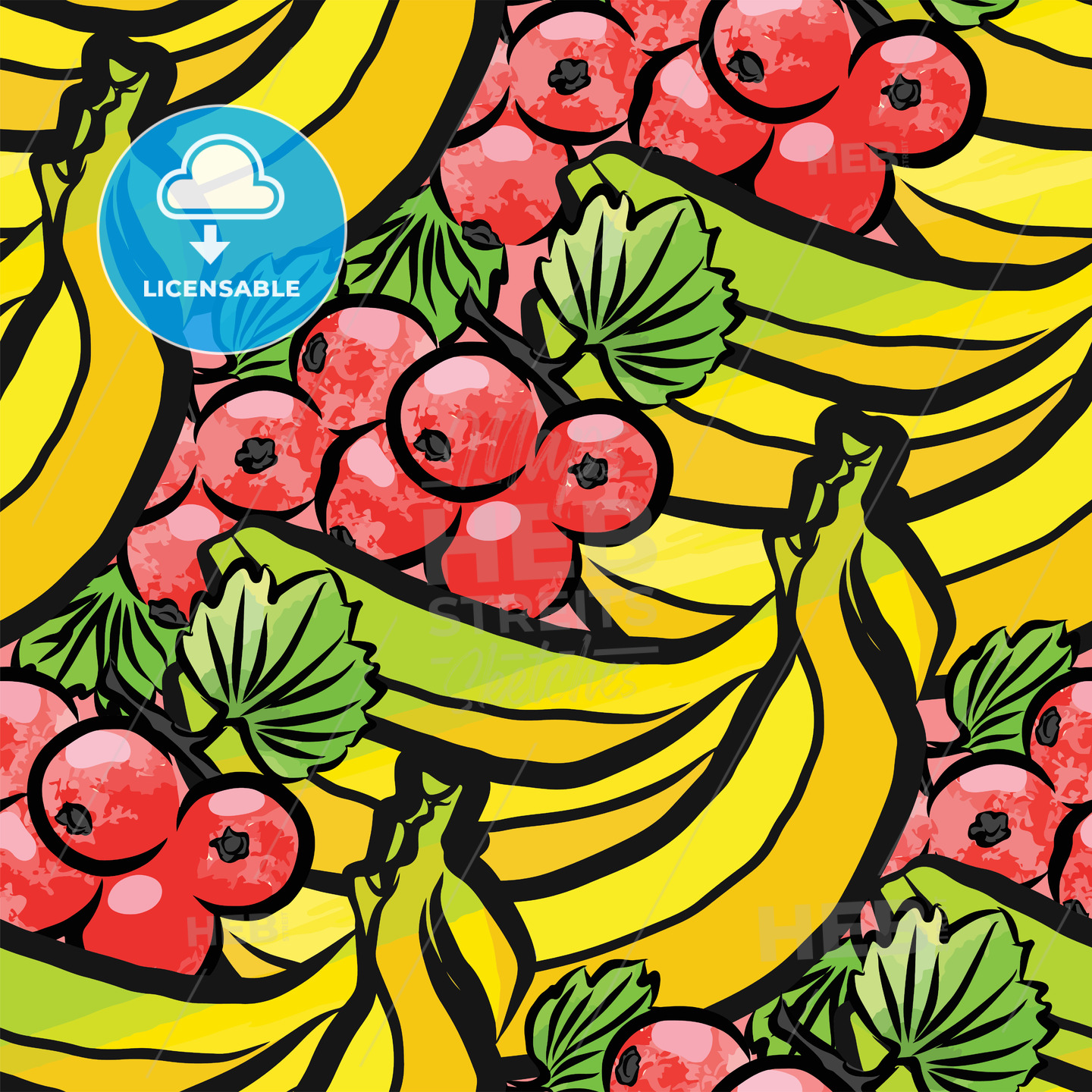 seamless pattern of currant and bananas - HEBSTREITS