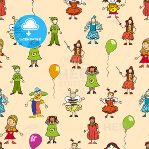 seamless pattern of festive kids icons - HEBSTREITS
