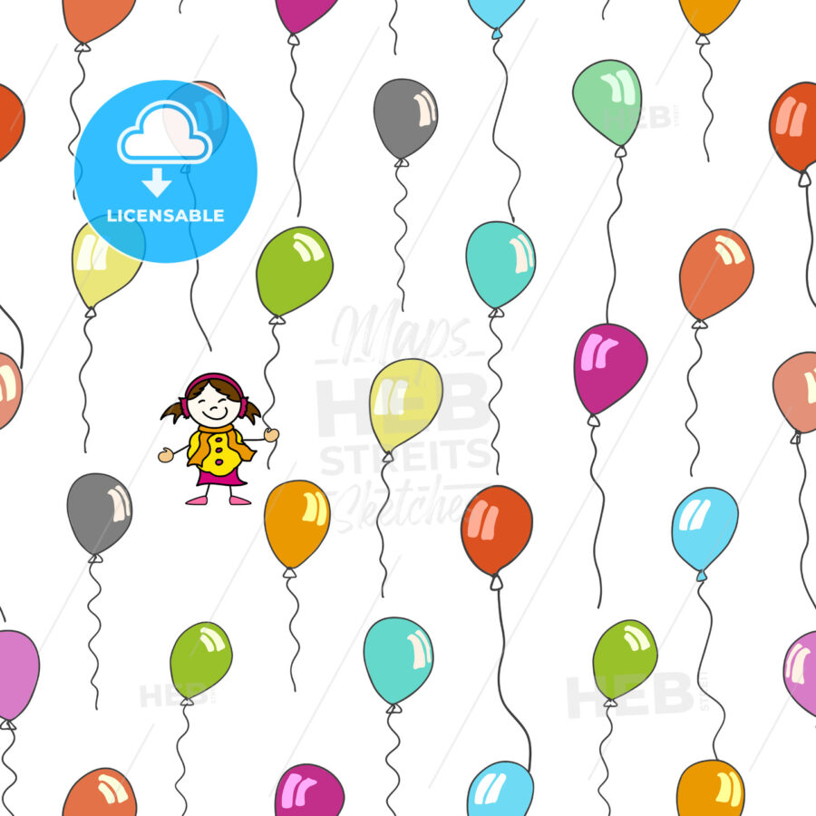 seamless pattern of kid and balloons - HEBSTREITS