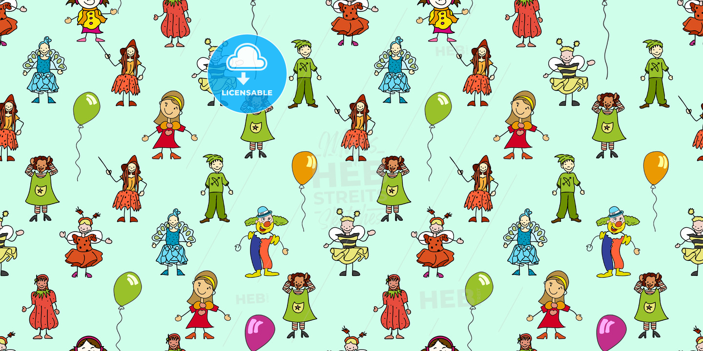 seamless pattern of kindergarten kids doodles - HEBSTREITS