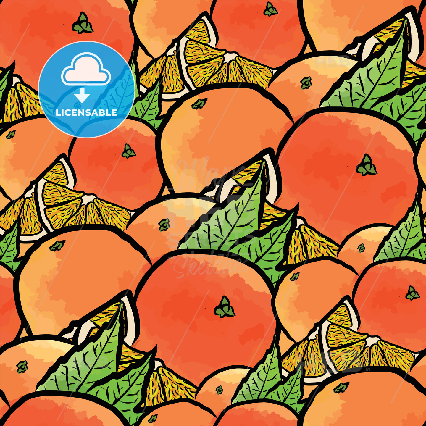 seamless pattern of oranges