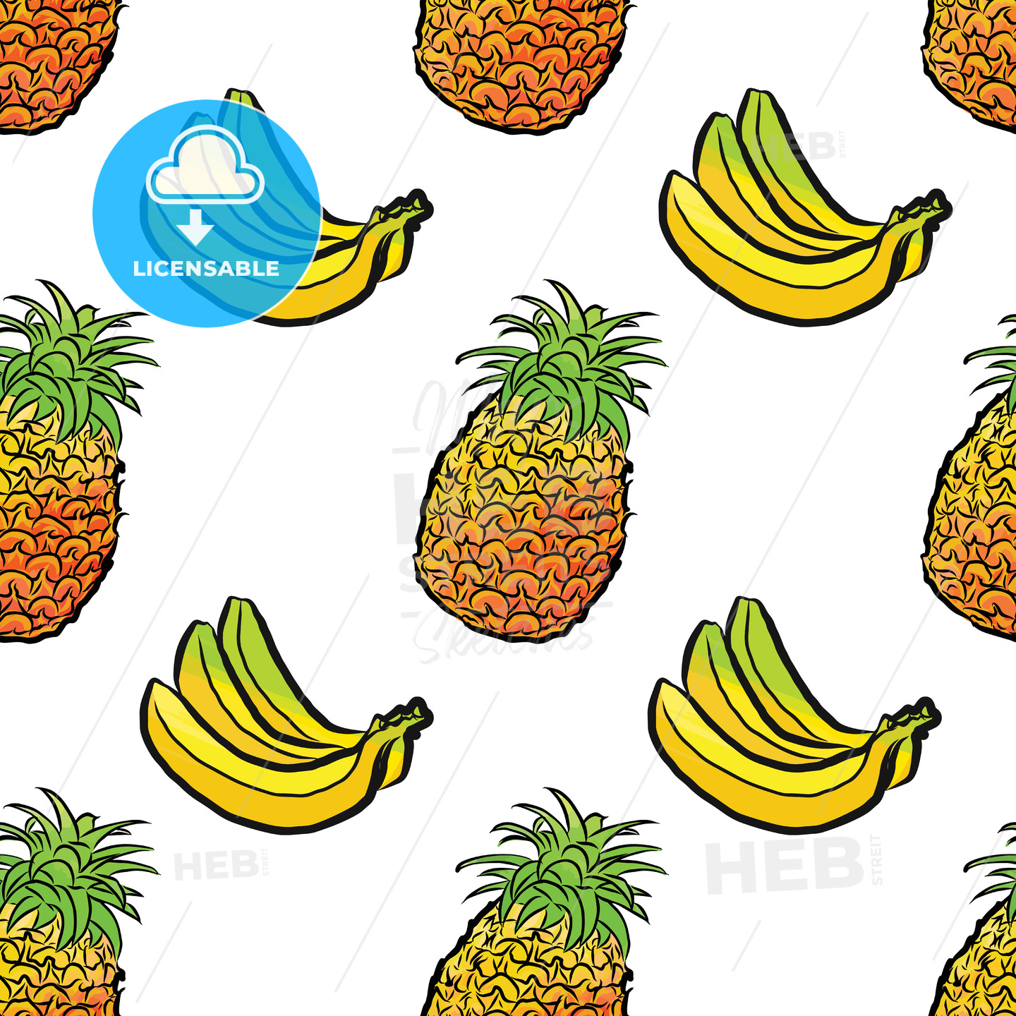 seamless pattern of pineapples and bananas - HEBSTREITS