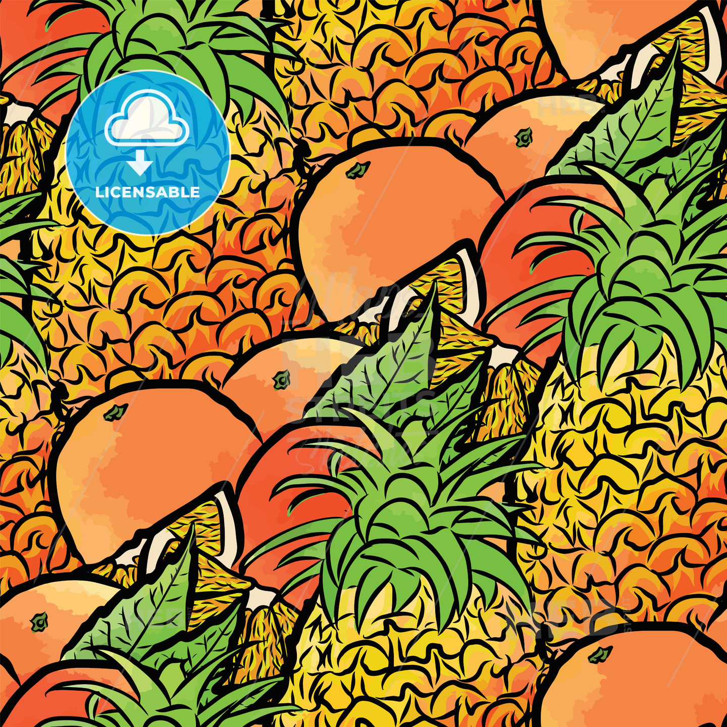 seamless pattern of pineapples and oranges - HEBSTREITS