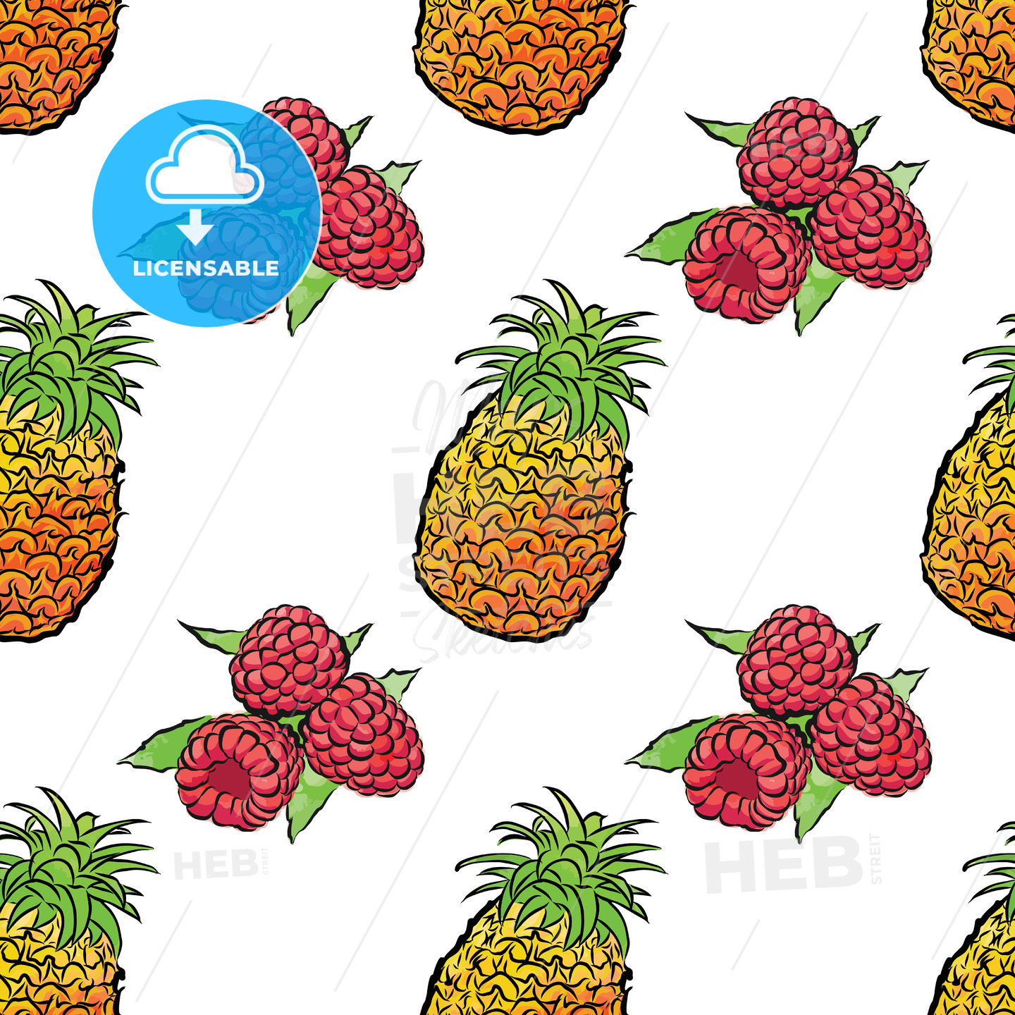 seamless pattern of pineapples and raspberries - HEBSTREITS