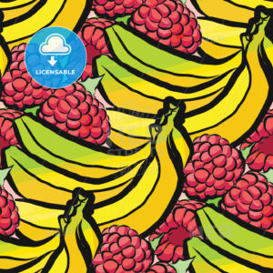 seamless pattern of raspberries and bananas - HEBSTREITS