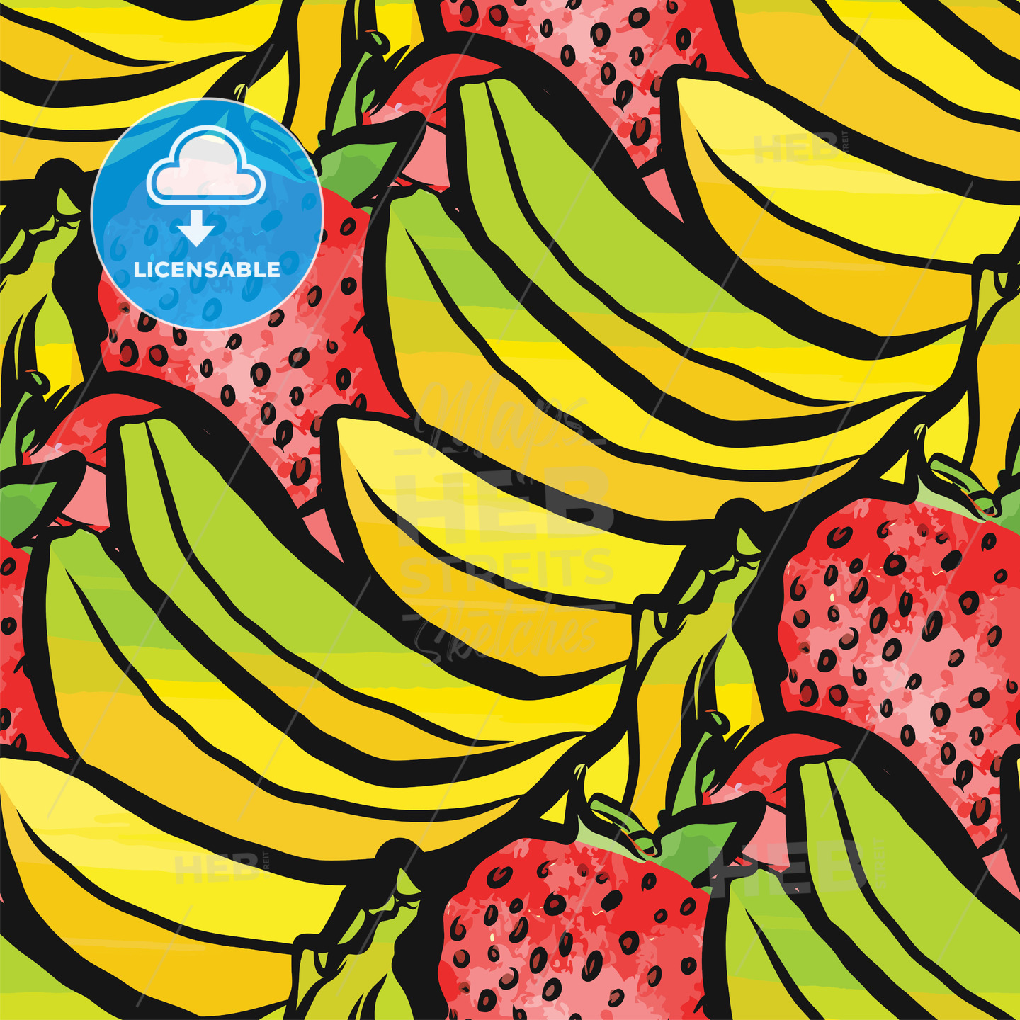 seamless pattern of strawberries and bananas