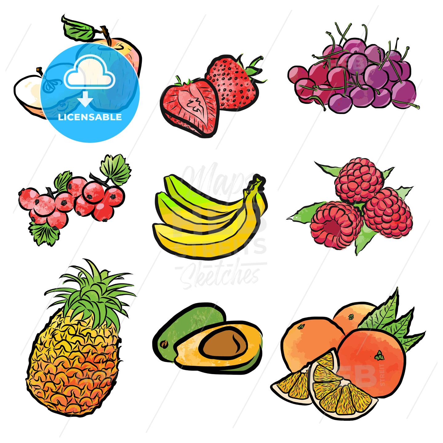 seamless pattern of various fruits - HEBSTREITS