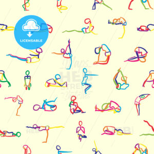 seamless pattern of yoga poses - HEBSTREITS