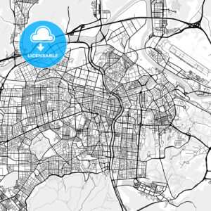 대구광역시 Daegu City Map, Light - HEBSTREITS